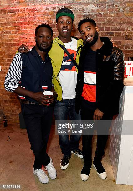 Arnold Oceng Jamal Edwards and Tinie Tempah attend the Agi Sam x Lacoste Lve Collection Launch on October 11 2016 in London United Kingdom