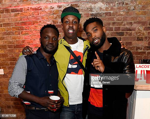 Arnold Oceng, Jamal Edwards and Tinie Tempah attend the Agi & Sam x Lacoste L!ve Collection Launch on October 11, 2016 in London, United Kingdom.