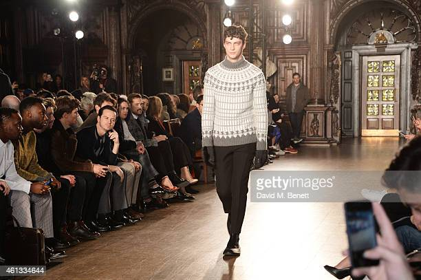 Arnold Oceng Nathan StewartJarrett Joe Dempsie Oliver Cheshire and Tallulah Harlech watch from the front row at the Pringe Of Scotland Autumn/Winter...