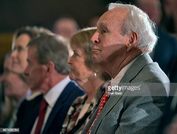 Arnold Palmer and his wife Kathleen Gawthrop attend fellow golf champion Jack Nicklaus' s Congressional Gold Medal ceremony in the US Capitol Rotunda...