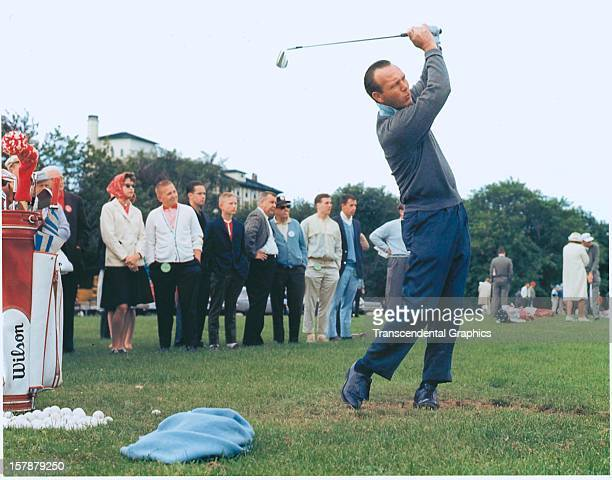 Arnold Palmer checks the skies in June of 1965 at the Thunderbird Classic at the Westchester Country Club in Rye New York