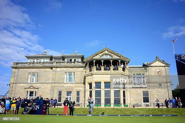Arnold Palmer hits his tee shot on the first hole during the Champion Golfers' Challenge ahead of the 144th Open Championship at The Old Course on...