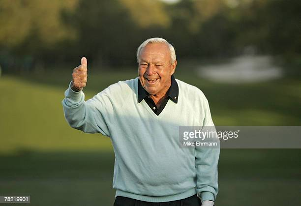Arnold Palmer hits the ceremonial first tee shot to start the 2007 Masters Tournament at Augusta National Golf Club in Augusta Georgia on April 5 2007