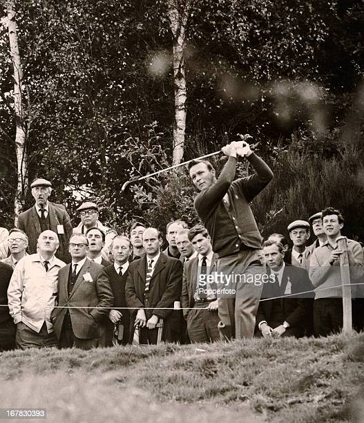 Arnold Palmer of the United States in action during the World Match Play Championship at Wentworth golf course in England, circa 1964.