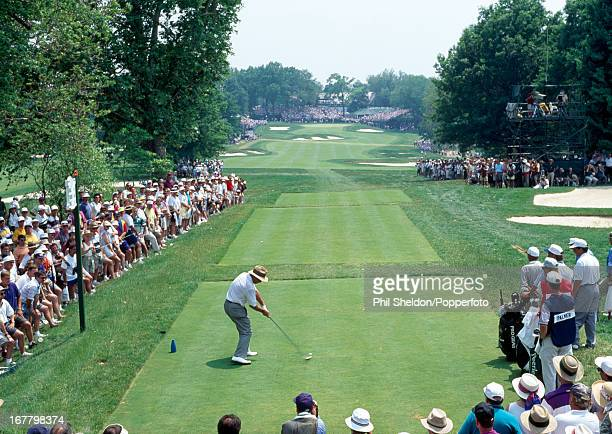Arnold Palmer of the United States tees off during the US Open Golf Championship held at the Oakmont Golf Club in Pennsylvania on 17th June 1994 This...