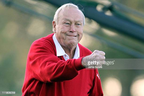 Arnold Palmer watches the ceremonial first tee shot to start the first round of the 2011 Masters Tournament at Augusta National Golf Club on April 7...
