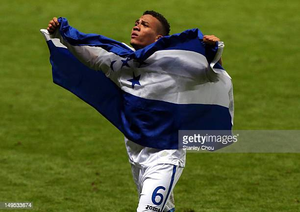 Arnold Peralta of Honduras celebrates after the final whistle during the Men's Football first round Group D match between Spain and Honduras on Day 2...