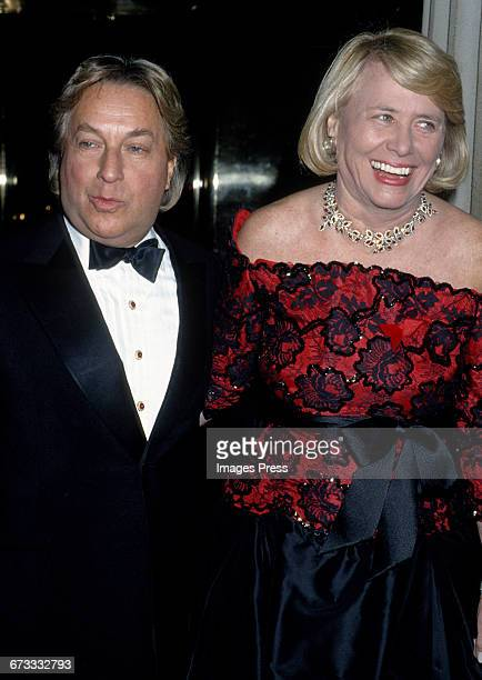 Arnold Scaasi and Liz Smith attend the 1992 Metropolitan Museum of Art's Costume Institute Gala circa 1992 in New York City.