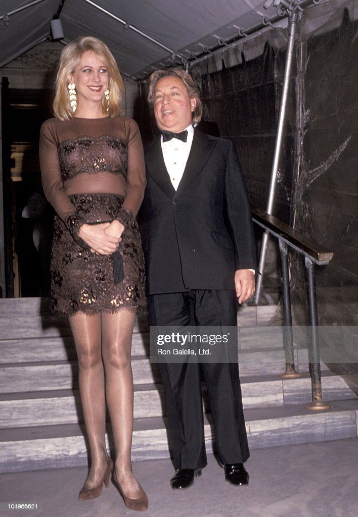 Arnold Scaasi and Nina Griscom during Vogue Magazine 100th Anniversary at New York Public Library in New York City, New York, United States.