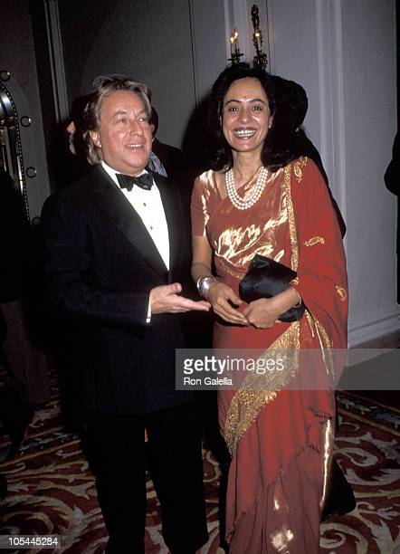 Arnold Scaasi and Sonny Mehta during 1991 National Book Awards at Plaza Hotel in New York City New York United States