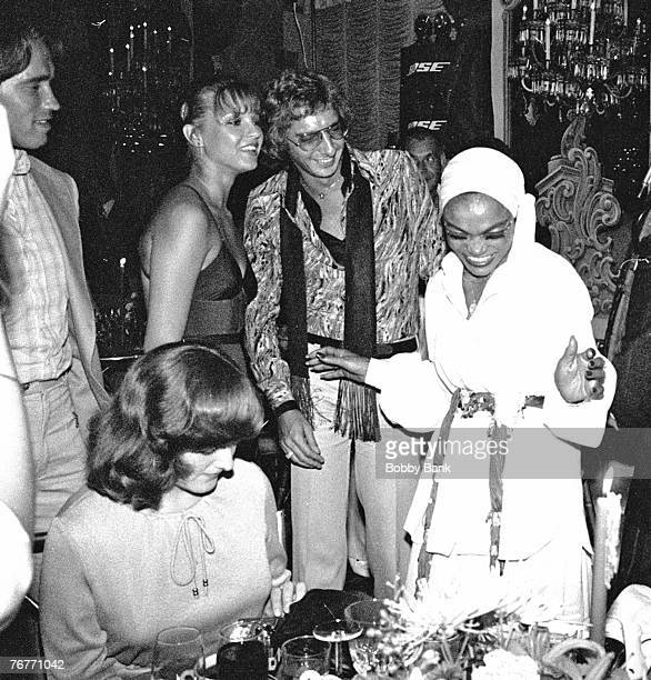 Arnold Schwartezegger , Barry Manilow and Eartha Kitt at a party held at the St Regis Hotel, Manhattan, New York City, 27th July 1978.