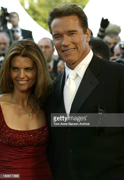 """Arnold Schwarzeneger and wife Maria Shriver during 2003 Cannes Film Festival - """"Les Egares"""" Premiere at Palais Des Festival in Cannes, France."""