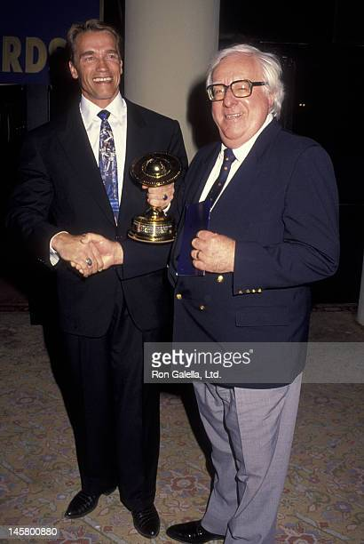 Arnold Schwarzenegger and author Ray Bradbury attend 18th Annual Saturn Awards on March 13, 1992 at the Universal Hilton Hotel in Universal City,...