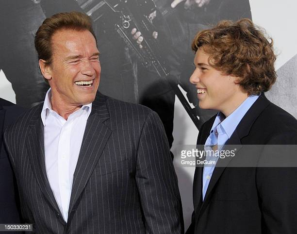 "Arnold Schwarzenegger and Christopher Schwarzenegger arrive at Los Angeles premiere of ""The Expendables 2"" at Grauman's Chinese Theatre on August 15,..."