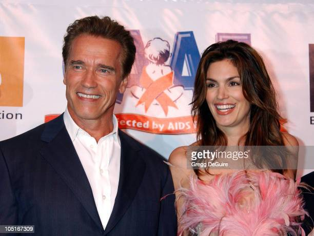 Arnold Schwarzenegger and Cindy Crawford during 10th Anniversary Dream Halloween Los Angeles Fundraising Event at Barker Hanger in Santa Monica...