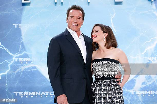 Arnold Schwarzenegger and Emilia Clarke arrives at the European Premiere of 'Terminator Genisys' at the CineStar Sony Center on June 21 2015 in...
