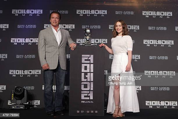 Arnold Schwarzenegger and Emilia Clarke attend the Seoul Press Conference of Terminator Genisys at the Ritz Carlton Hotel on July 2 2015 in Seoul...