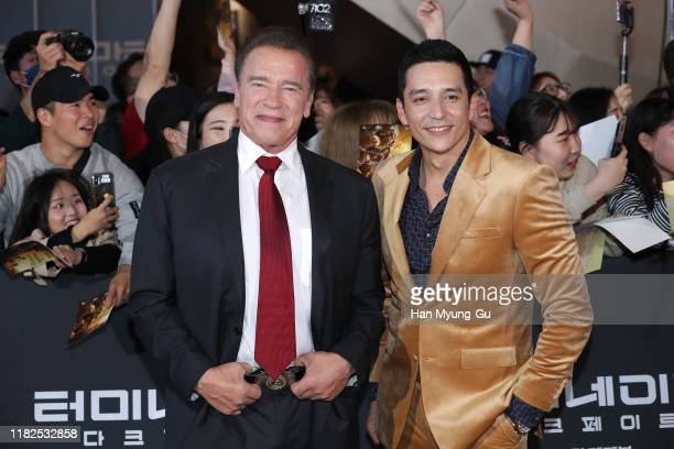 Arnold Schwarzenegger and Gabriel Luna attend the Seoul premiere of 'Terminator Dark Fate' on October 21 2019 in Seoul South Korea The film will open...