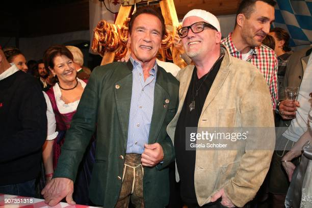Arnold Schwarzenegger and Gerry Friedle DJ Oetzi during the 27th Weisswurstparty at Hotel Stanglwirt on January 19 2018 in Going near Kitzbuehel...