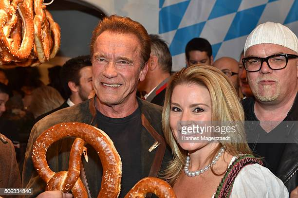 Arnold Schwarzenegger and girlfriend Heather Milligan during the Weisswurstparty at Hotel Stanglwirt on January 22 2016 in Going Austria