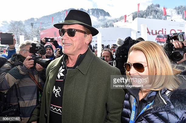 Arnold Schwarzenegger and girlfriend Heather Milligan during the Hahnenkamm race on January 23 2016 in Kitzbuehel Austria