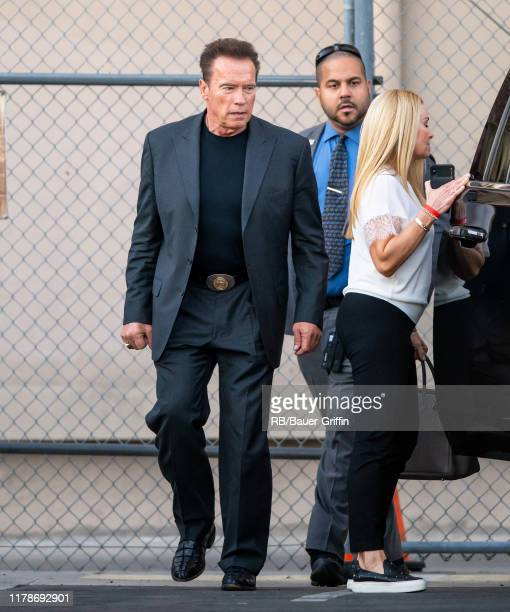 Arnold Schwarzenegger and Heather Milligan are seen at 'Jimmy Kimmel Live' on October 28 2019 in Los Angeles California