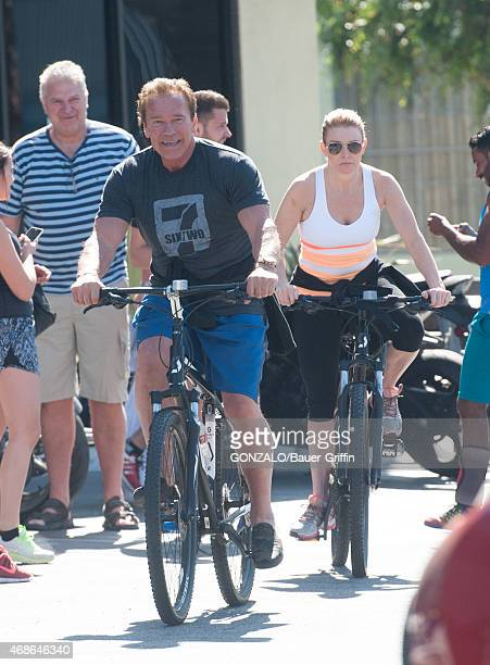 Arnold Schwarzenegger and Heather Milligan are seen in Los Angeles on April 04 2015 in Los Angeles California