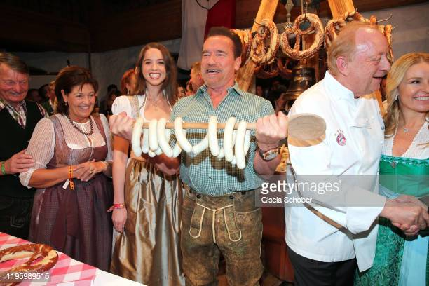 Arnold Schwarzenegger and his daughter Christina Maria Aurelia Schwarzenegger during the 29th Weisswurstparty at Hotel Stanglwirt on January 24 2020...