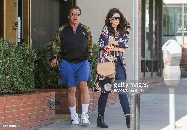 Arnold Schwarzenegger and his daughter Katherine are seen on April 11, 2017 in Los Angeles, California.