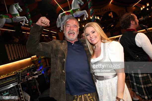 Arnold Schwarzenegger and his girlfriend Heather Milligan during the Oktoberfest 2018 at Marstall opening at Theresienwiese on September 22 2018 in...