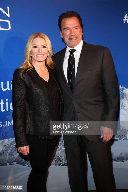 Arnold Schwarzenegger and his girlfriend Heather Milligan during the Schwarzenegger climate initiative charity dinner prior the Hahnenkamm Ski Races...