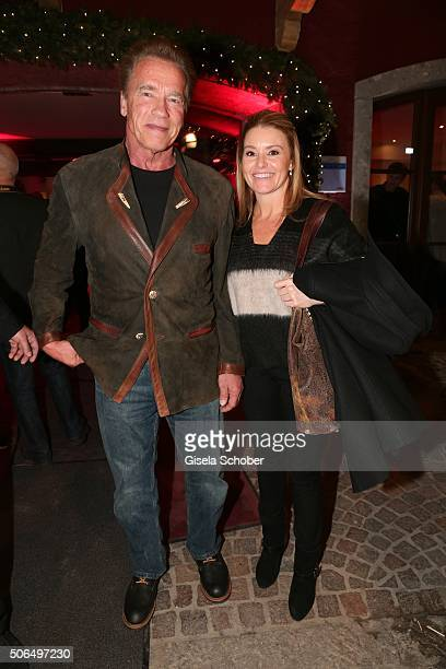 Arnold Schwarzenegger and his girlfriend Heather Milligan during the 'Hummer Party' at hotel 'Kitzhof' on January 23 2016 in Kitzbuehel Austria