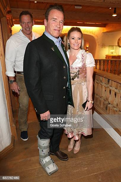 Arnold Schwarzenegger and his girlfriend Heather Milligan during the Weisswurstparty at Hotel Stanglwirt on January 20 2017 in Going near Kitzbuehel...