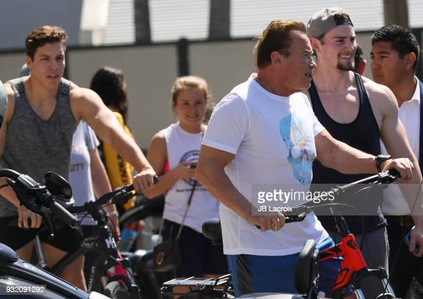 Arnold Schwarzenegger and his son Joseph Baena are seen on March 14 2018 in Los Angeles California