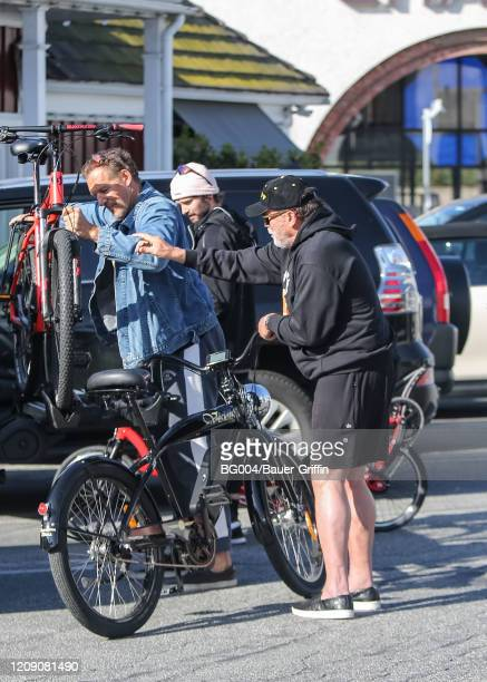 Arnold Schwarzenegger and his son Patrick are seen on April 03, 2020 in Los Angeles, California.
