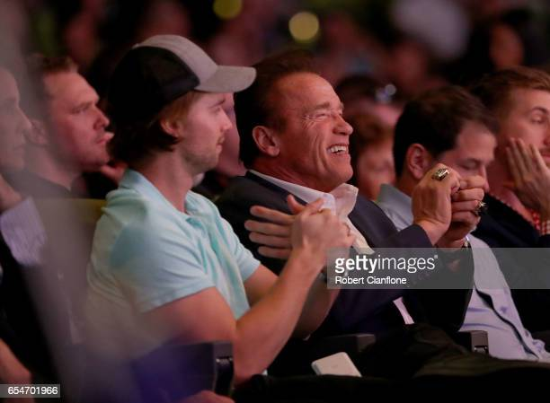 Arnold Schwarzenegger and his son Patrick look on during the 2017 Arnold Classic at The Melbourne Convention and Exhibition Centre on March 17 2017...