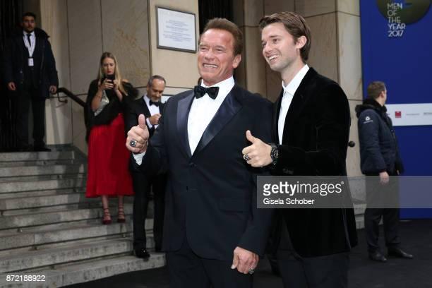 Arnold Schwarzenegger and his son Patrick Schwarzenegger arrive for the GQ Men of the year Award 2017 at Komische Oper on November 9, 2017 in Berlin,...