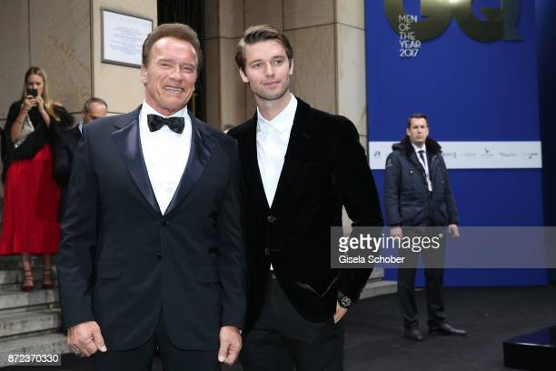Arnold Schwarzenegger and his son Patrick Schwarzenegger during the GQ Men of the year Award 2017 at Komische Oper on November 9 2017 in Berlin...