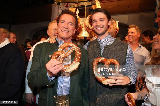 Arnold Schwarzenegger and his son Patrick Schwarzenegger during the 27th Weisswurstparty at Hotel Stanglwirt on January 19, 2018 in Going near...