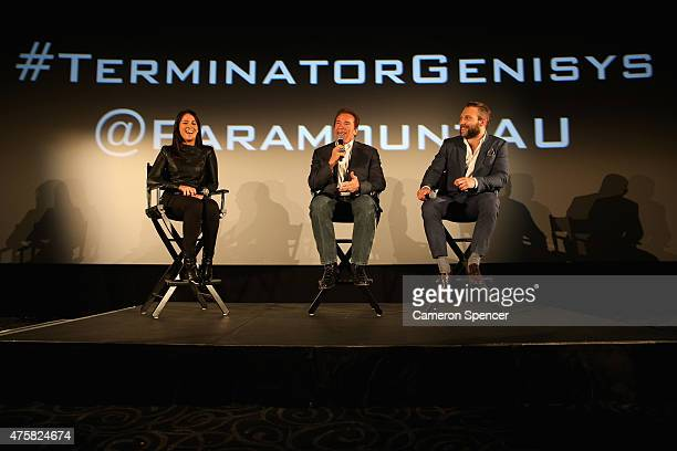 Arnold Schwarzenegger and Jai Courtney participate in a 'Q A' on stage with Mel McLaughlin during the Australia Screening of 'Terminator Genisys' at...