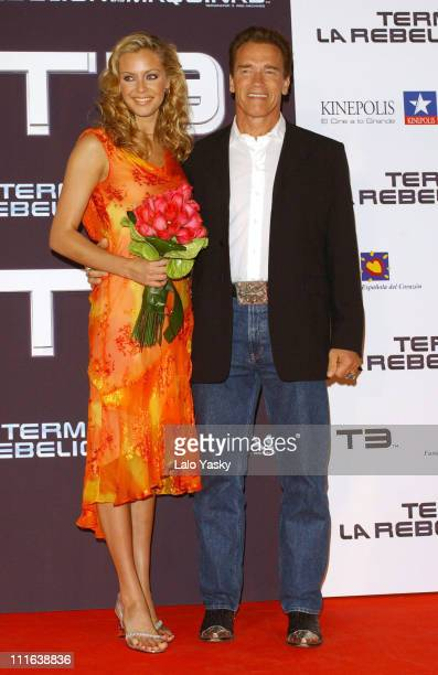 Arnold Schwarzenegger and Kristanna Loken during Terminator 3 Rise of the Machines Premiere in Spain in Madrid Spain
