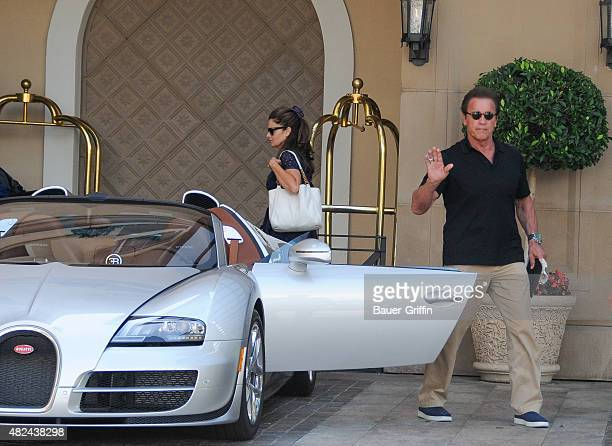 Arnold Schwarzenegger and Maria Shriver are seen on July 30, 2015 in Los Angeles, California.