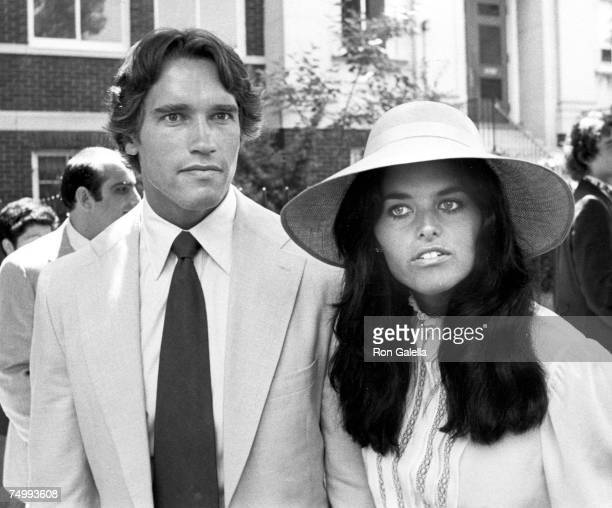 Arnold Schwarzenegger and Maria Shriver attend the Courtney Kennedy and Jeff Ruhe Wedding at Holy Trinity Church Washington DC 06/14/80
