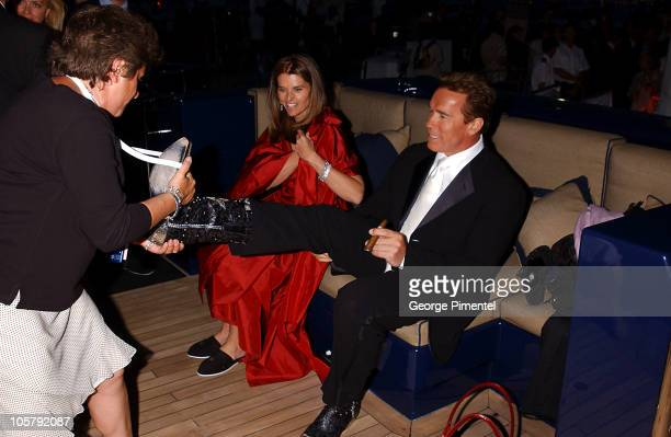 Arnold Schwarzenegger and Maria Shriver during 2003 Cannes Film Festival Anheuser Busch Hosts Terminator 3 Party at Anheuser Busch Yacht in Cannes...