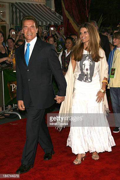 """Arnold Schwarzenegger and Maria Shriver during """"Pirates of the Caribbean: Dead Man's Chest"""" Los Angeles Premiere - Arrivals at Main Street USA,..."""