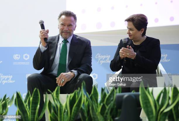 Arnold Schwarzenegger and Patricia Espinosa Executive Secretary of the United Nations Framework Convention on Climate Change participate in a panel...