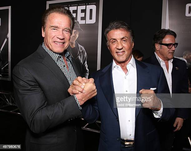 Arnold Schwarzenegger and Producer Sylvester Stallone attend the premiere of Warner Bros Pictures' 'Creed' at Regency Village Theatre on November 19...