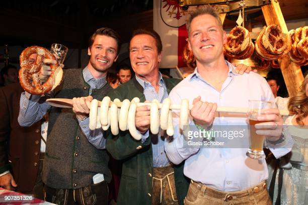 Arnold Schwarzenegger and son Patrick Schwarzenegger and nephew Patrick Knapp-Schwarzenegger during the 27th Weisswurstparty at Hotel Stanglwirt on...