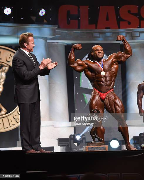 Arnold Schwarzenegger and the Arnold Classic winner Kai Greene onstage at the Arnold Sports Festival 2016 on March 5 2016 in Columbus Ohio