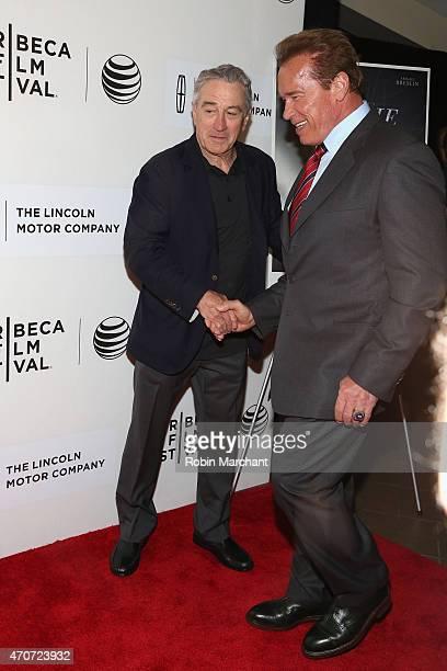 Arnold Schwarzenegger and Tribeca Film Festival Cofounder Robert De Niro attend the premiere of 'Maggie' during the 2015 Tribeca Film Festival at...